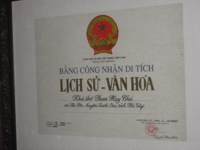 Bằng công nhận di tích Lịch Sử - Văn Hóa - nhà thờ Phan Huy Chú - xã Sài Sơn, huyện Quốc Oai, Hà Nội